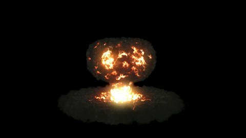 Explosion with mushroom cloud and slow motion. Alpha... Stock Video Footage