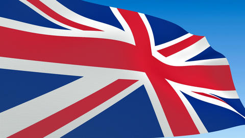 Seamless loop waving Great Britain flag. Alpha channel is... Stock Video Footage