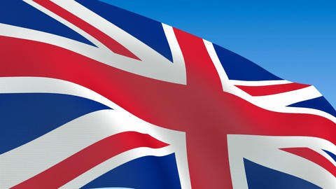 Seamless loop waving Great Britain flag. Alpha channel is included Animation
