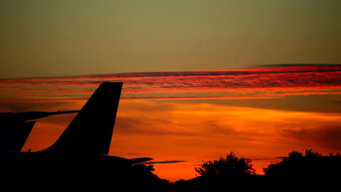 Sunset at the airport Stock Video Footage