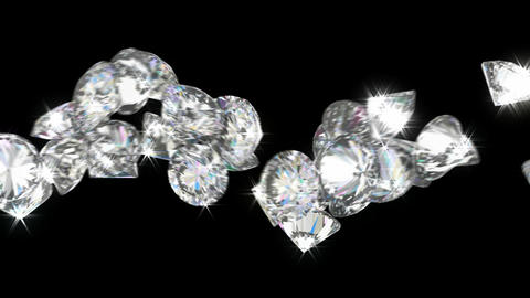 Loopable diamonds or gems flow with slow motion. Alpha channel is included Animation