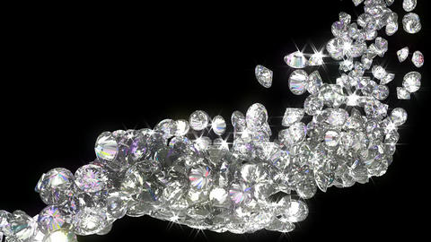 Loopable diamonds or gems flow with slow motion. Alpha... Stock Video Footage