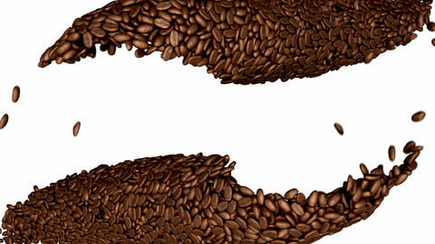 Two Coffee beans flow with slow motion over white Stock Video Footage