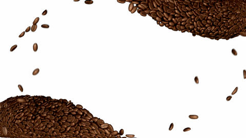 Two Coffee beans flow with slow motion over white Animation