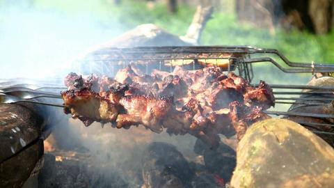 Loopable cooking of shish kebab or shashlik outdoors.... Stock Video Footage
