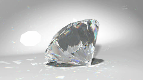 Large diamond or gem falling and rolling down Animation