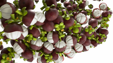 Mangosteen flow with slow motion over white Animation
