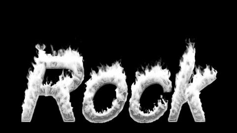 Loopable burning Rock word. Alpha channel is included Stock Video Footage