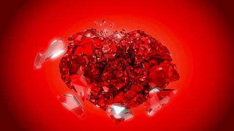 Loopable Heart explosion over red. Slow motion Animation