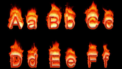 Loopable burning A, B, C, D, E, F. Alpha channel is included. Height of capital characters: appr. 19 Animation
