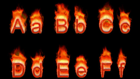 Loopable burning A, B, C, D, E, F. Alpha channel is... Stock Video Footage