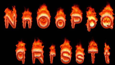 Loopable burning N, O, P, R, S, T, Q. Alpha channel is... Stock Video Footage