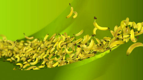 Flying bananas over green waves. Alpha channel is included Stock Video Footage