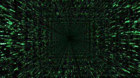Pass-through. Loopable swift flight through the binary code corridor Animation
