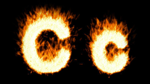 Loopable burning C character, capital and small. Alpha... Stock Video Footage
