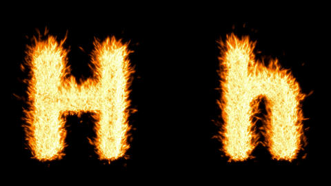 Loopable burning H character, capital and small. Alpha... Stock Video Footage
