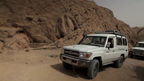 White Jeeps Are Starting Safari Ride stock footage