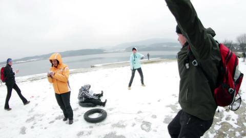 Group of people playing different winter games Footage