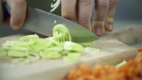 Cutting leek and other vegetables Footage