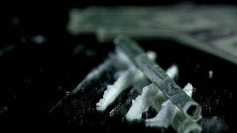 Throwing the money bill over the cocaine lanes Footage