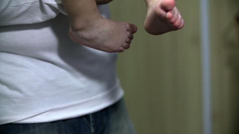 Detail shot of Boy's feet Footage
