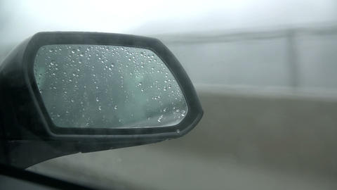 Close shot of steamy side mirror glass Footage