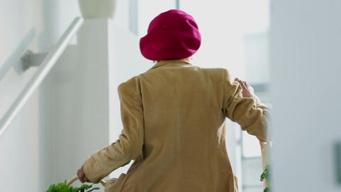 Old Woman Walking Up The Stairs With Her Shopping  stock footage