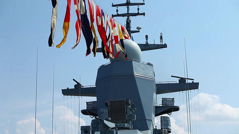 naval flags on a warship Live Action