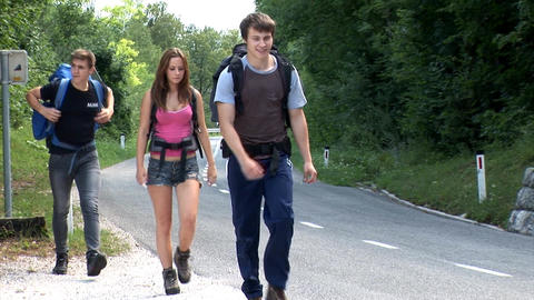 Friends are hitch-hiking Footage