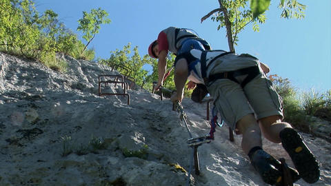 Boys are climbing the difficult way Footage