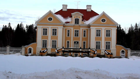 The view of a big old manor house in Estonia Balti Footage