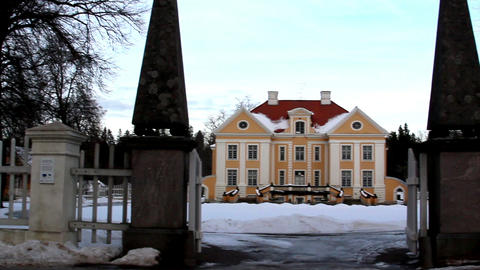 Entrance gate of a big old manor house in Estonia  Footage