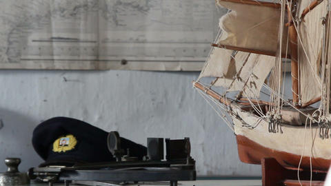 A sideview of a boat or ship model Footage