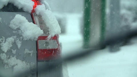 Driving In Snow 022 S HD stock footage