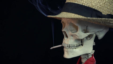 Skeleton is smoking on a date with his girlfriend Live Action