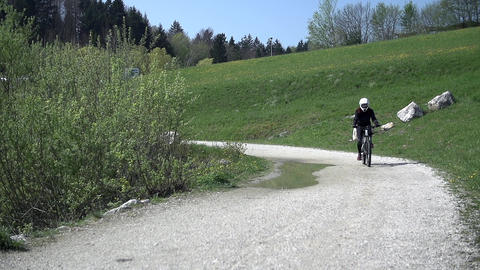Downhill driver riding on a road Footage