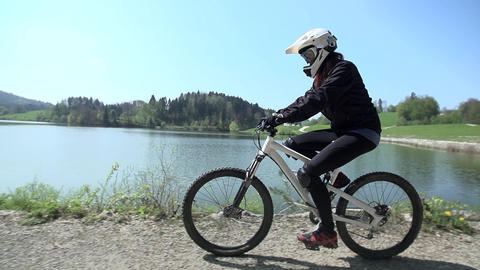 Downhill driver training near the lake Footage