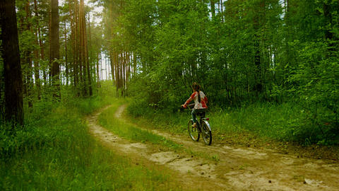 Little Girl Riding A Bike On The Sunny Forest stock footage