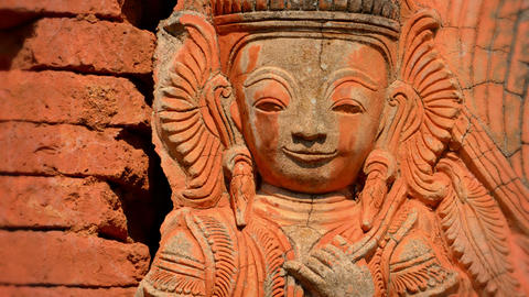 Ancient Red Stone Statue. Burma. Inle Lake stock footage