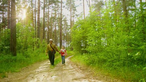 Grandfather and granddaughter walking along a road Footage