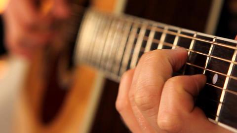 man playing guitar close up 3 Stock Video Footage