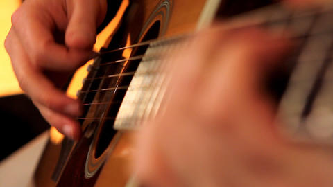 man playing guitar close up Stock Video Footage