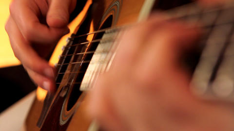 man playing guitar close up Stock Video Footage