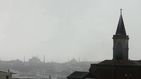 church view from istanbul historical peninsula during snow Stock Video Footage