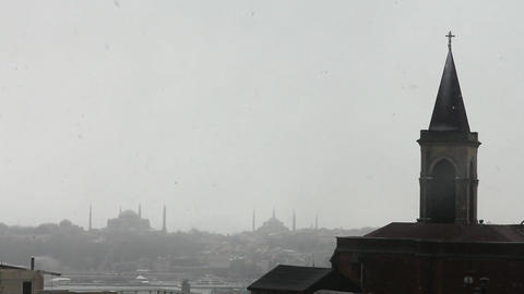 church view from istanbul historical peninsula during snow Footage