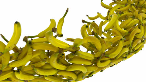 Banana flow with slow motion over white Stock Video Footage