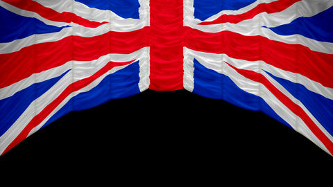 Great Britain Flag curtain up. Alpha channel is included. You can rewind the video and drop the curt Animation