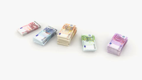 euro bundle banknote Stock Video Footage