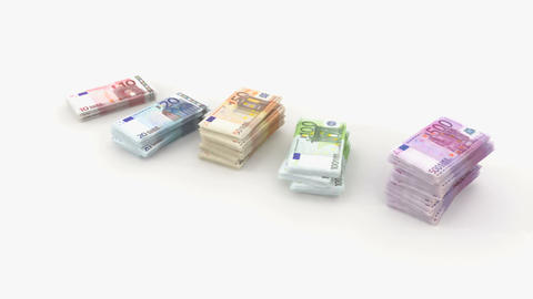 euro bundle banknote Stock Video Footage