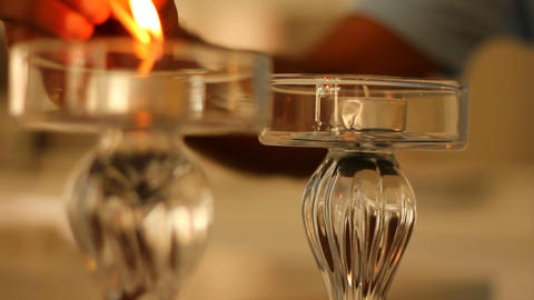 Lighting Candles For A Romantic Dinner stock footage